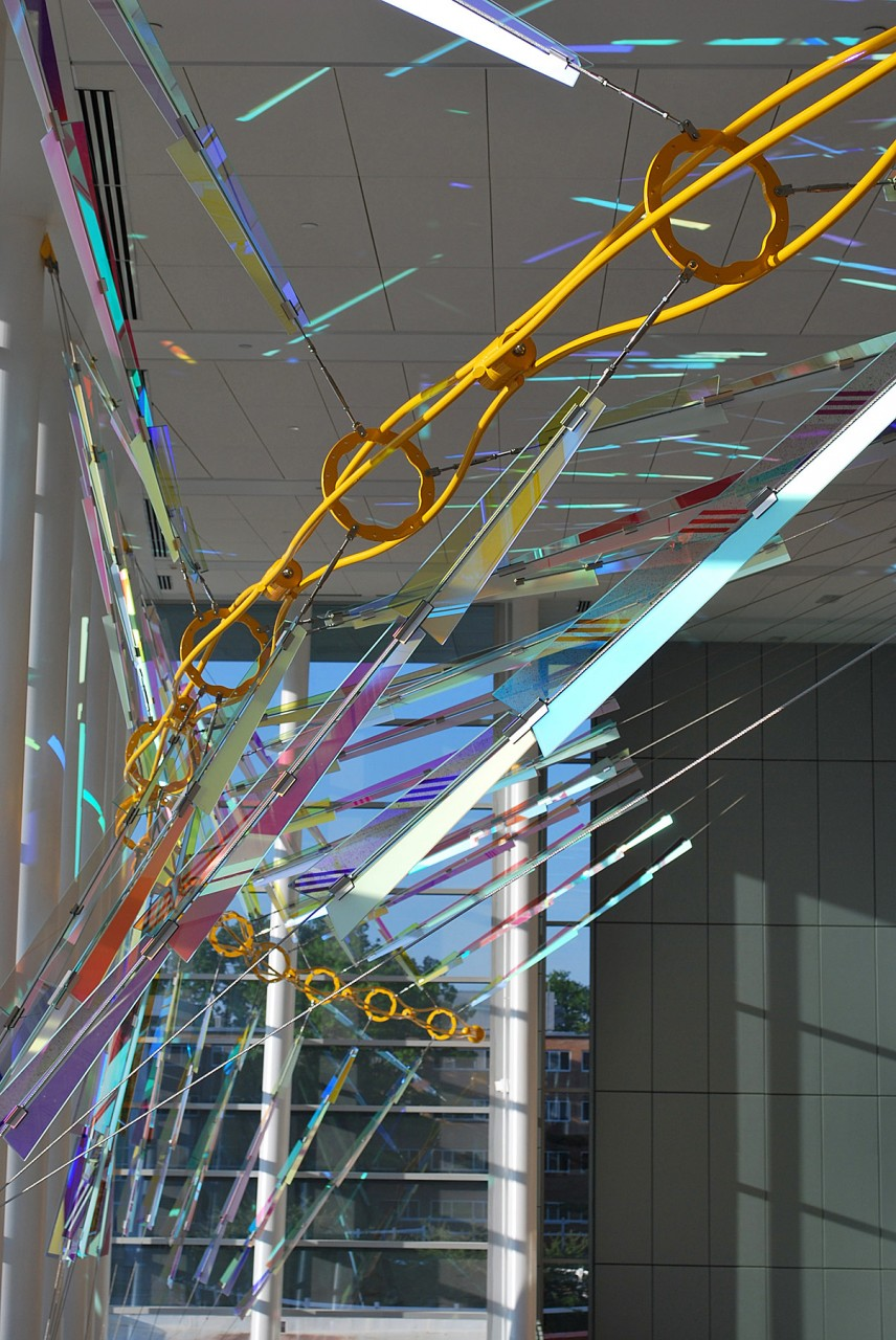 Ed Carpenter Filament suspended sculpture on the window wall of the Brody Hall, MSU. / image 1