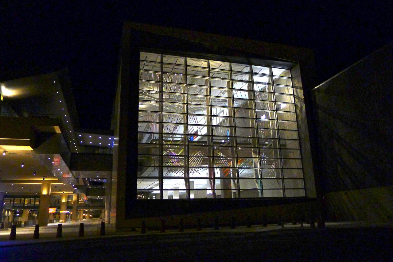 Ed Carpenter's McCarran airport skylight art, view from outside at night. / image 1