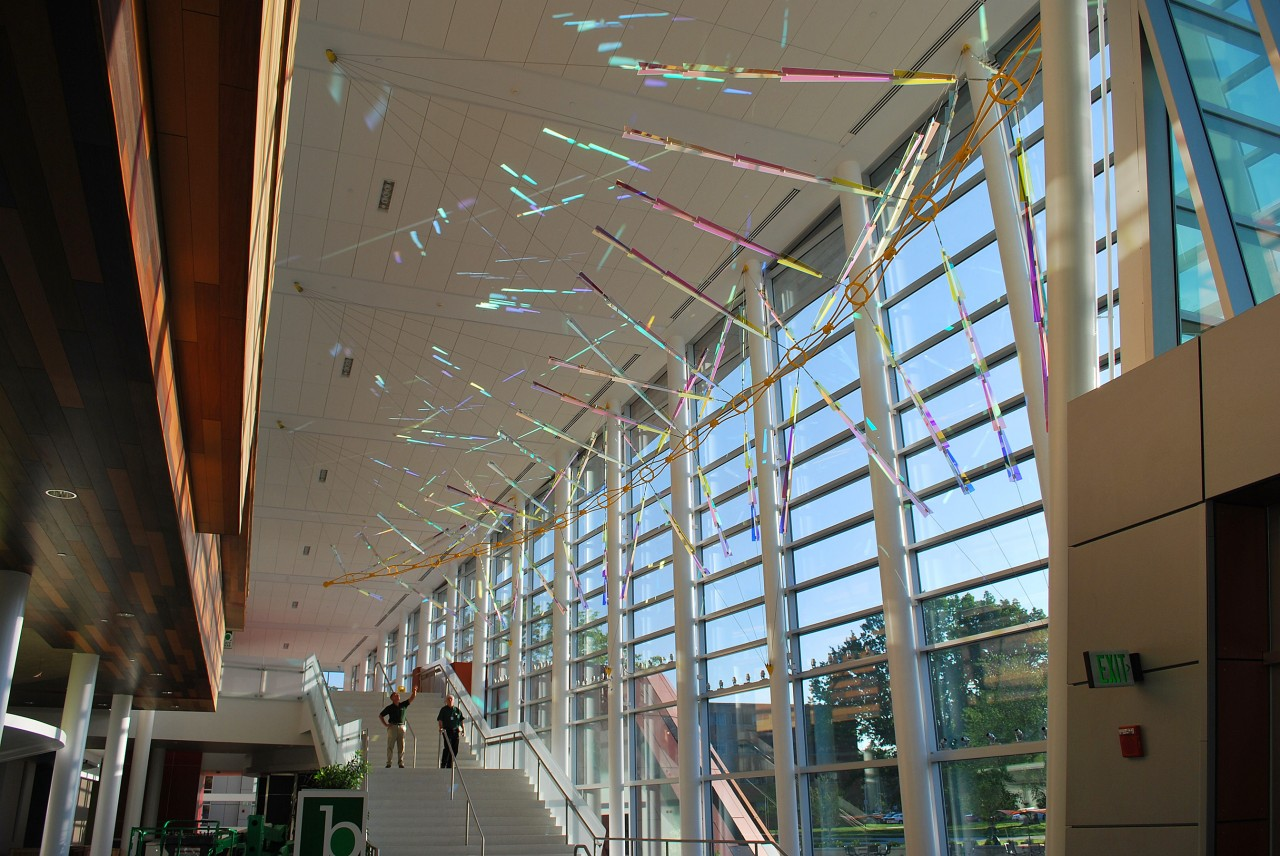 Ed Carpenter Filament suspended glass sculpture on the window wall of the Brody Hall, Michigan State University. / image 2