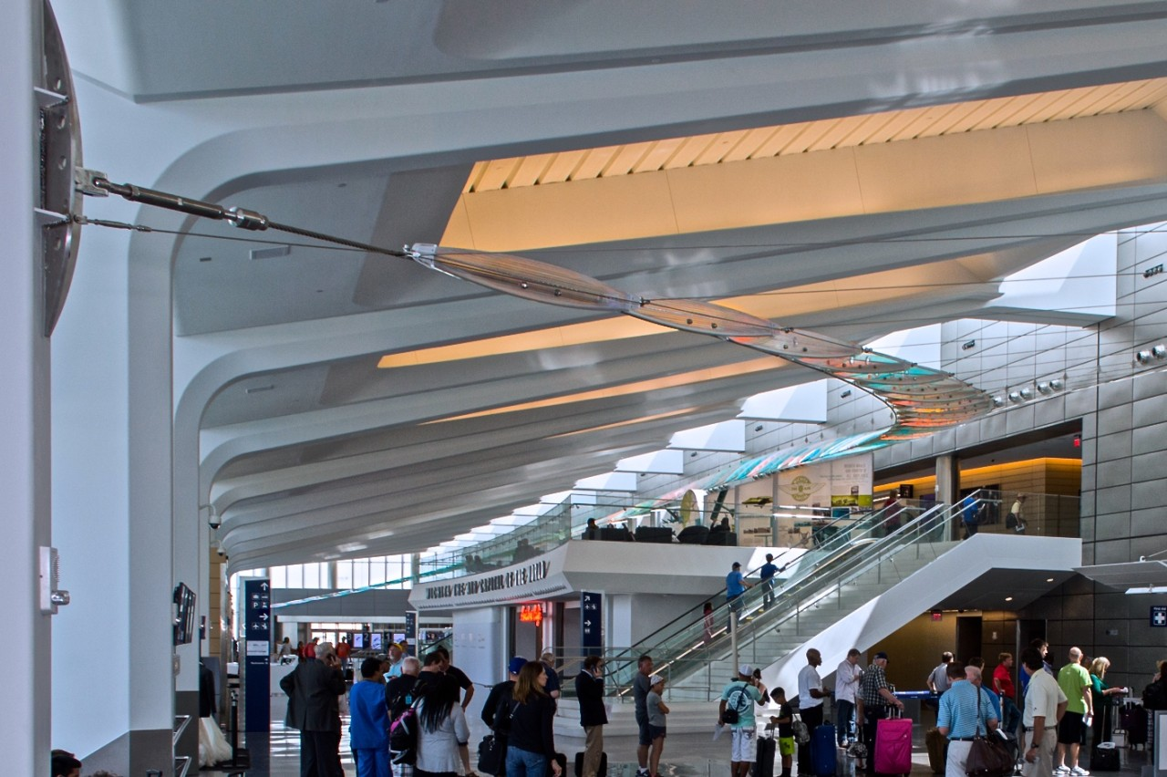 Ed Carpenter's Wichita Dwight D. Eisenhower National Airport suspended sculpture Aloft evokes feelings of ascent and descent, and sensations of the allure of flight. / image 2