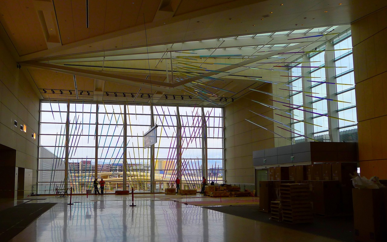 Ed Carpenter's McCarran airport suspended art on the west window wall and adjacent skylight. / image 2