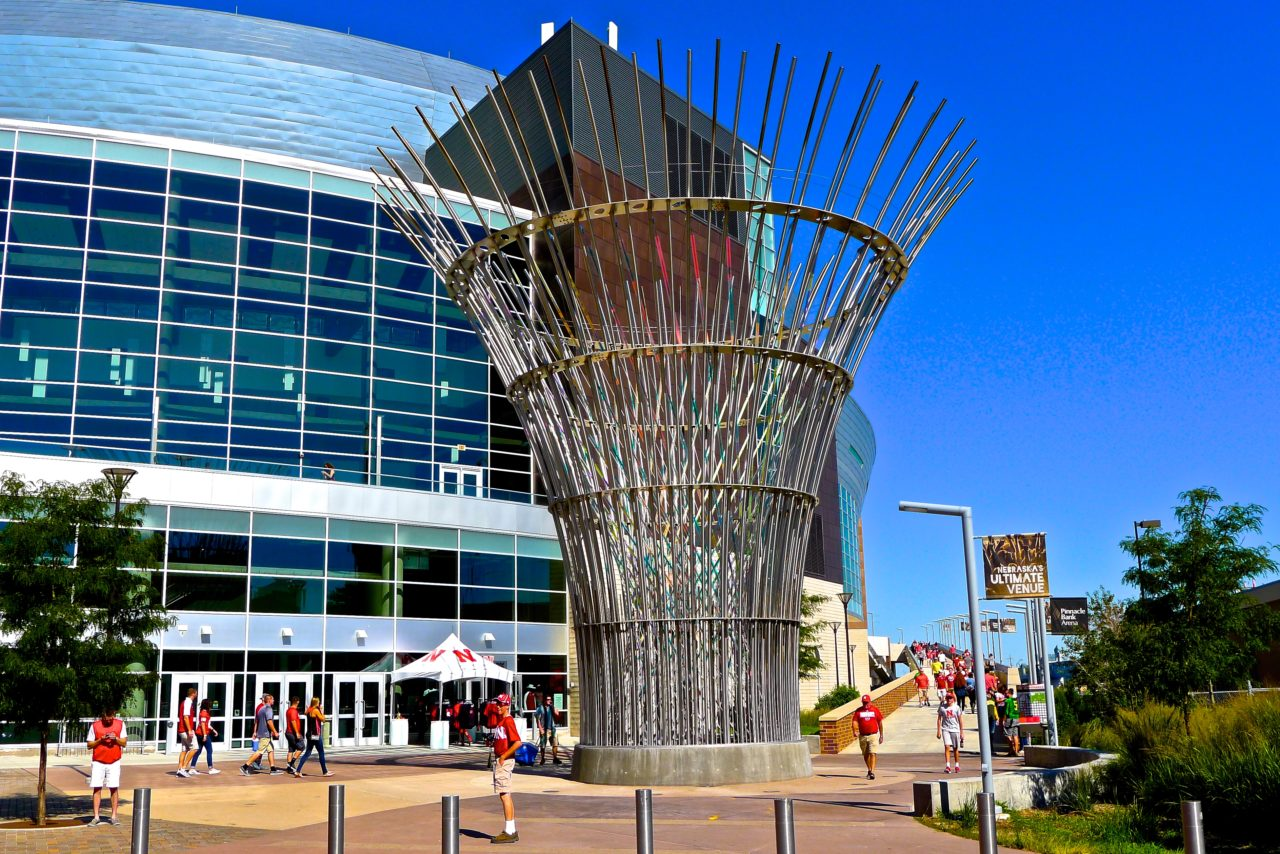 Harvest monumental public sculpture in Lincoln, Nebraska day view, facing the ramp to the Pinnacle Bank Arena. / image 4