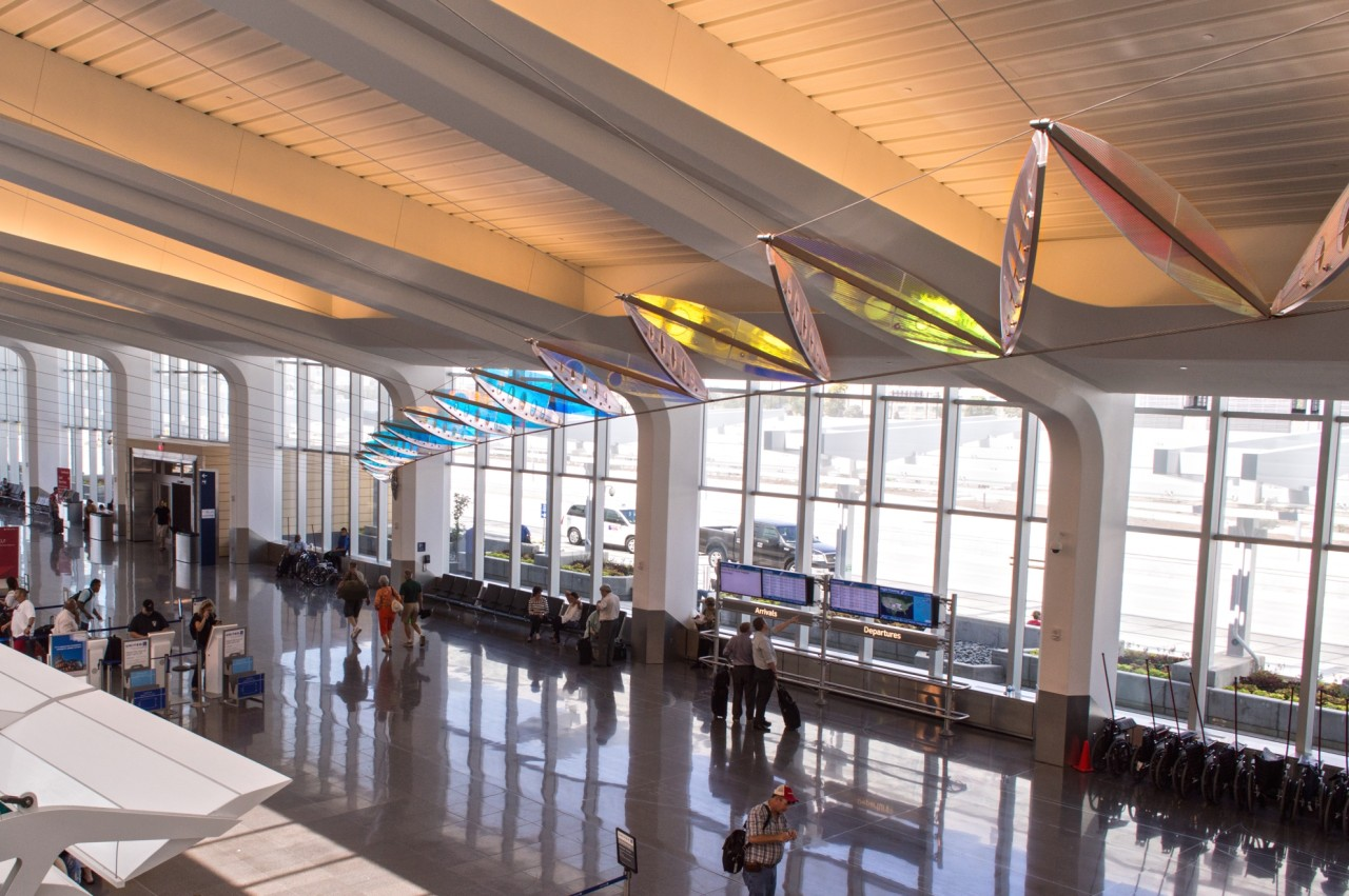 A view of Ed Carpenter's Wichita Dwight D. Eisenhower National Airport suspended sculpture Aloft from the second level. / image 5