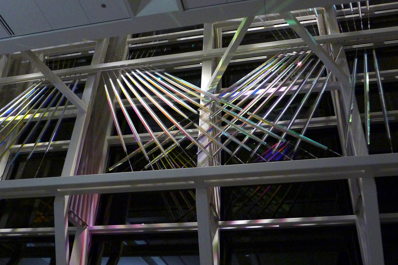 Ed Carpenter's McCarran airport suspended glass and cable art on the west window wall night view. / image 6