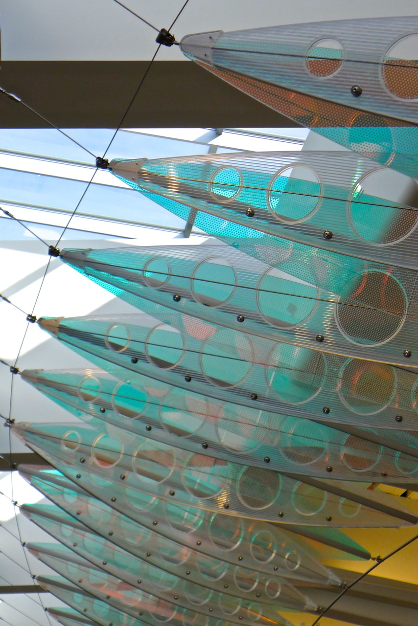 A colorful close up of Ed Carpenter's Wichita Dwight D. Eisenhower National Airport suspended sculpture Aloft. / image 7