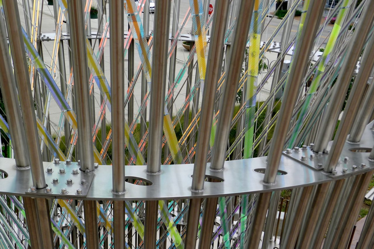Harvest monumental public sculpture in Lincoln, Nebraska close up, showing dichroic glass and stainless steel elements. / image 10