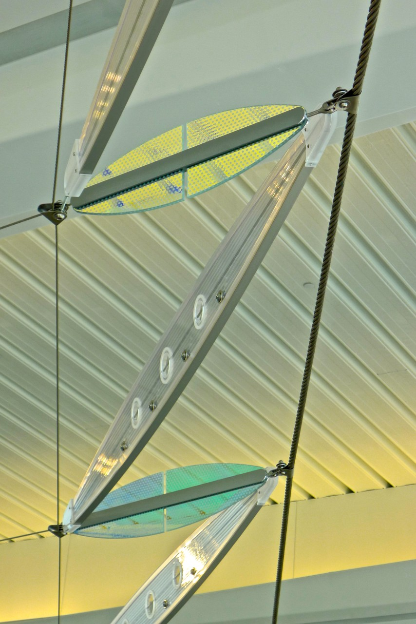 Ed Carpenter's Wichita Dwight D. Eisenhower National Airport signature sculpture Aloft detail of alternating panels of laminated glass and cellular polycarbonate. / image 19
