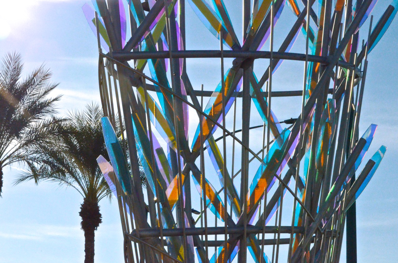 Ed Carpenter's Mesaflora sculpture suggests an enormous botanical specimen blooming at the core of the Country Club Road light rail station. / image 8