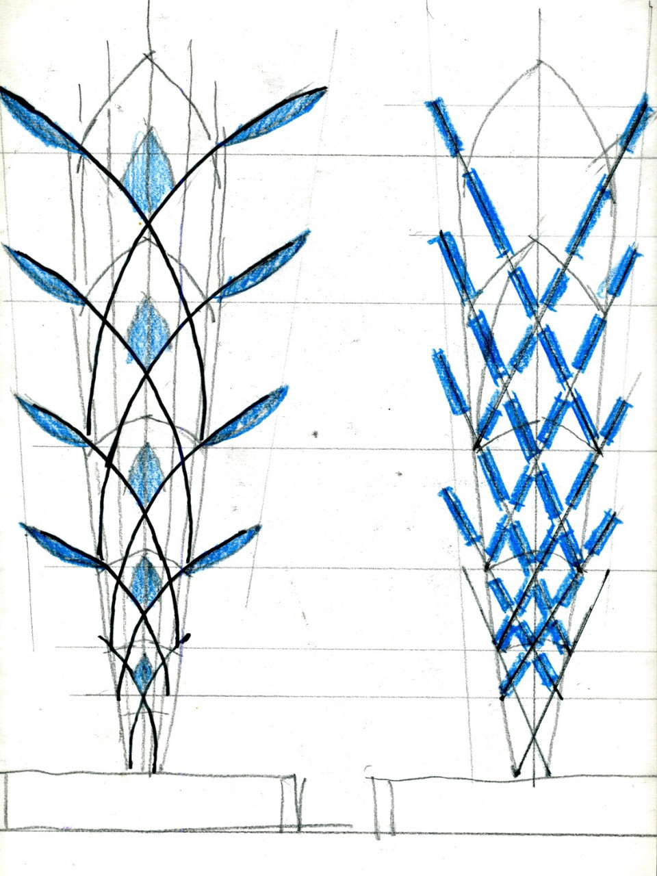 Ed Carpenter's initial sketches of Mesaflora light rail sculpture. The blossoming of the City of Mesa itself is implicit in this metaphor. / image 8