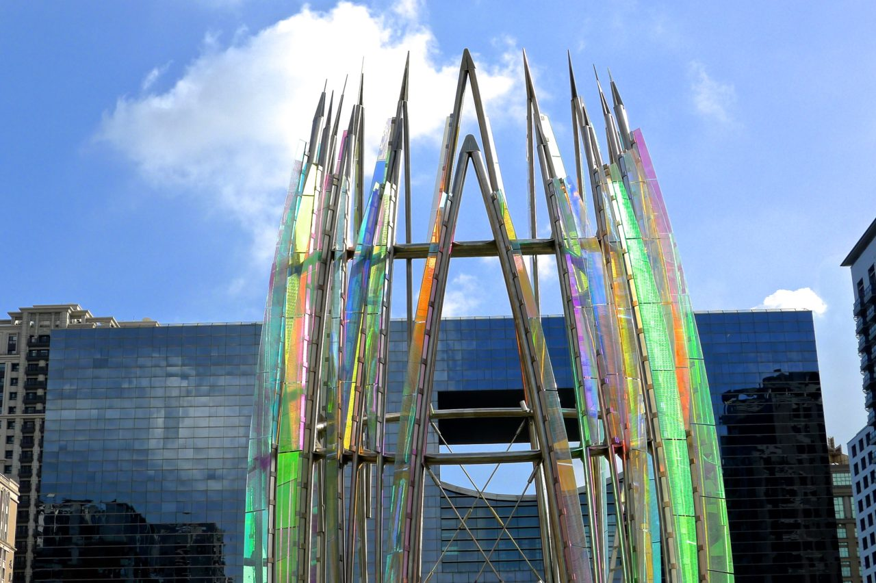 Taichung, Taiwan Civic Center monumental sculpture: Stainless Steel and Laminated Dichroic Glass. Details of Crocus top portion. / image 14