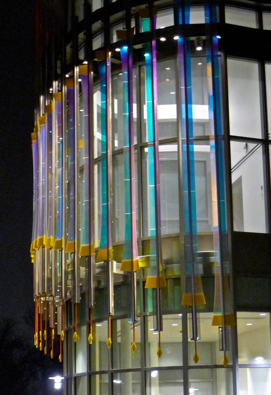 Rohrer College of Business at Rowan University Threshold laminated dichroic glass and perforated stainless steel sculpture view of structure detail. / image 9