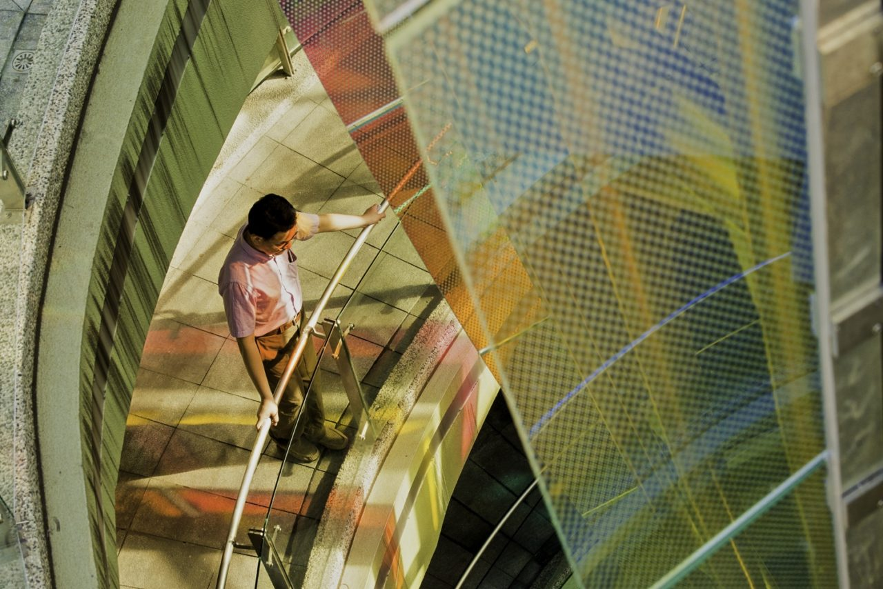 Taichung, Taiwan Civic Center monumental sculpture: Stainless Steel and Laminated Dichroic Glass. View halfway up on the stairs from the two levels of parking below the parks. / image 13