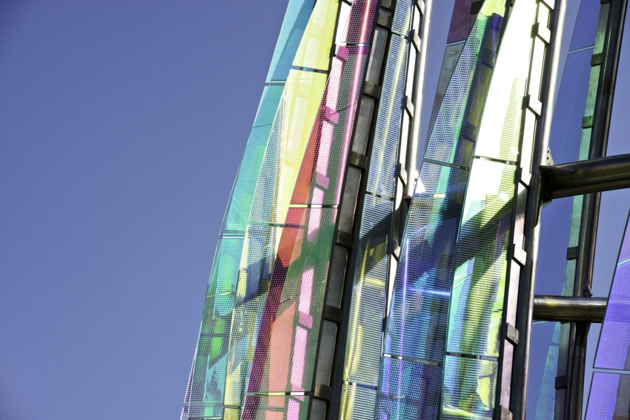 Taichung, Taiwan Civic Center monumental sculpture: Stainless Steel and Laminated Dichroic Glass. Close up of the details of the stainless steel and laminated glass in the sculpture, Crocus. / image 11
