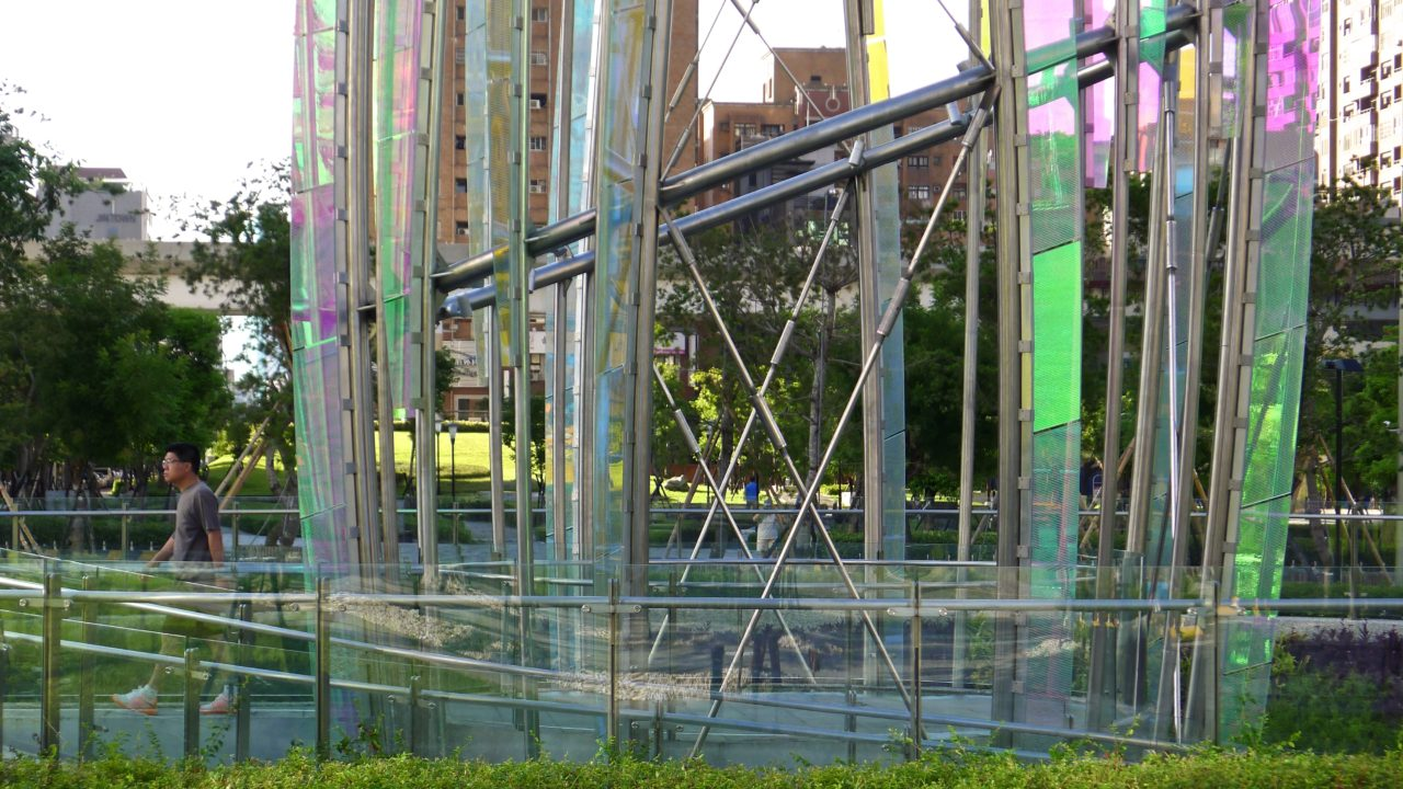 Taichung, Taiwan Civic Center monumental sculpture: Stainless Steel and Laminated Dichroic Glass. Another angle of Crocus showing details of the stainless steel and laminated glass. / image 12