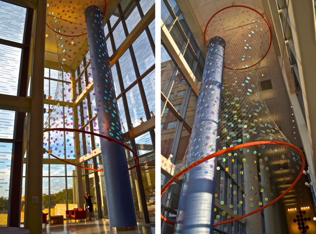 Ed Carpenter's Foxglove suspended glass art lobby sculpture for San Antonio's new university's hospital greets visitors from outside and inside. / image 9