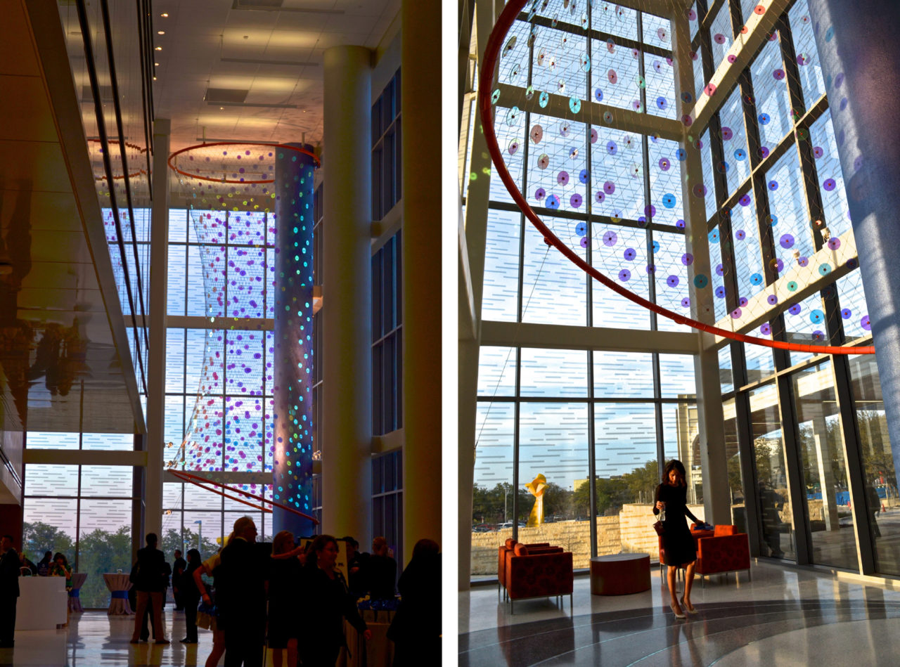 Ed Carpenter's Foxglove suspended glass art lobby sculpture for San Antonio's new university's hospital greets visitors from outside and inside. / image 3