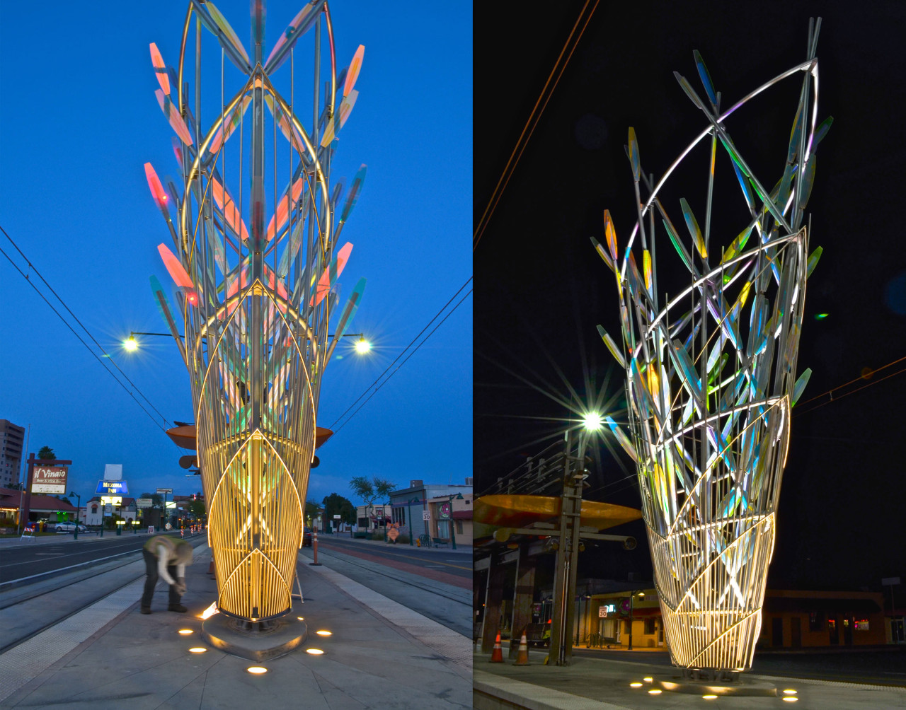 Ed Carpenter's Mesaflora sculpture in the core of the Country Club Road light rail station marks the western entry into downtown Mesa. The sculpture's up-lighting shown here in twilight and full night. / image 1