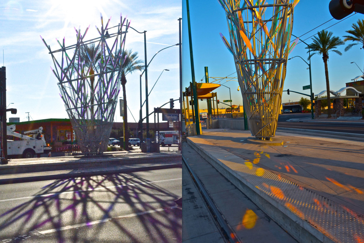 Ed Carpenter's Mesaflora light rail sculpture from different angles show the sculptures shadows and dichroic color play. / image 3