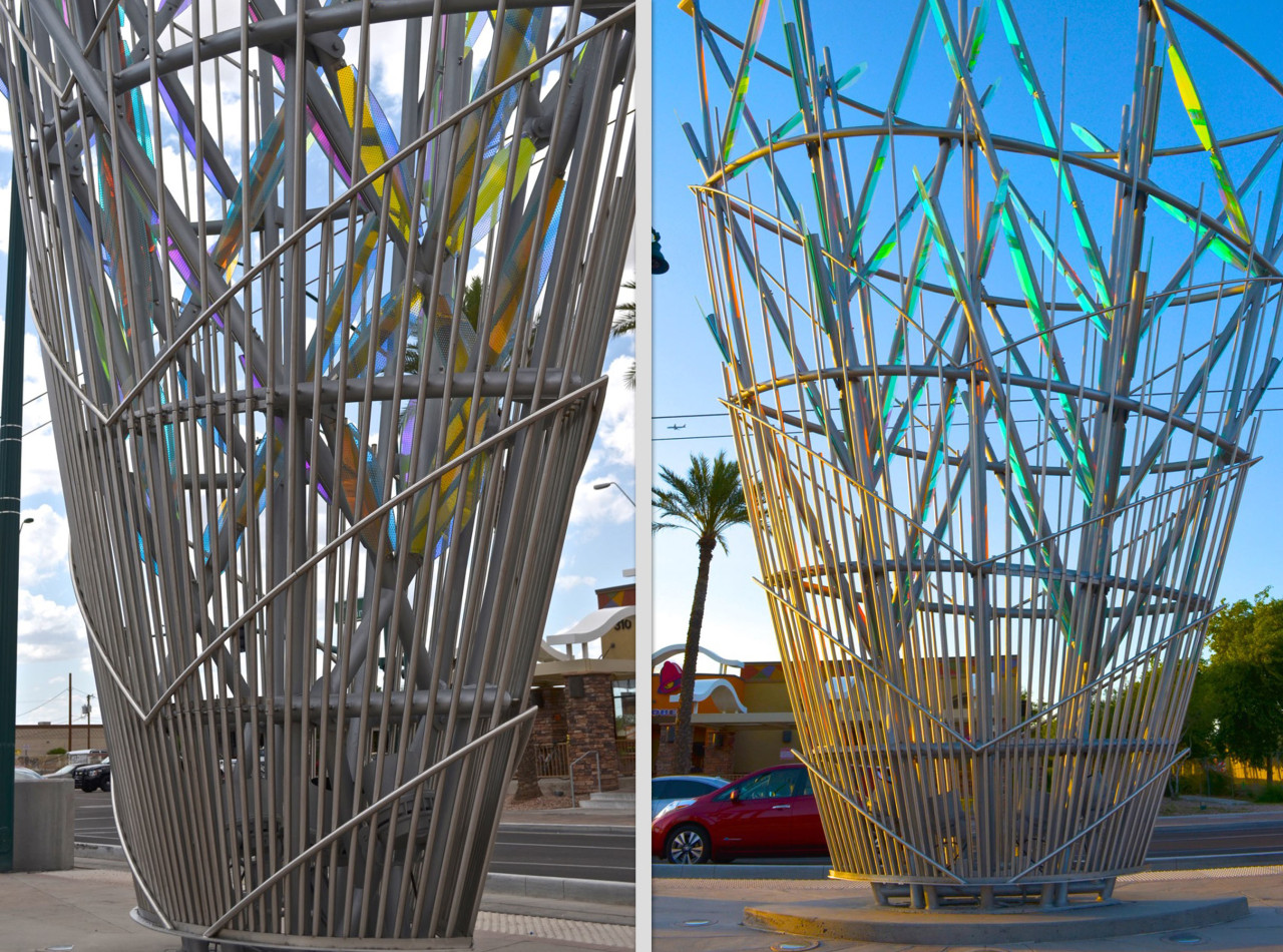 Ed Carpenter's Mesaflora light rail sculpture cage-like base is shown here in two different views. / image 5