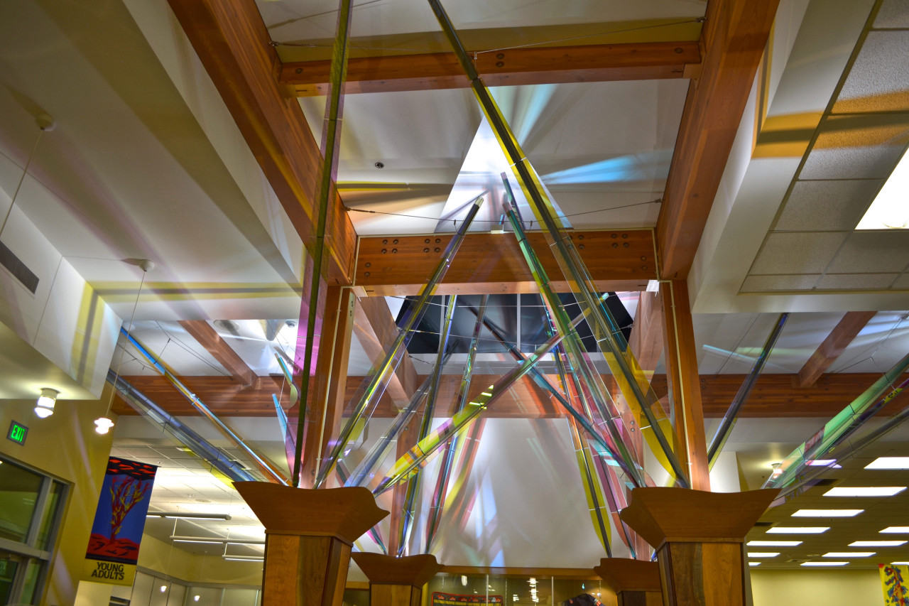 Mollie's Garden, Ed Carpenter's interior library sculpture is a wood, steel, and glass installation in the entry of the Forest Grove, Oregon, library. / image 2