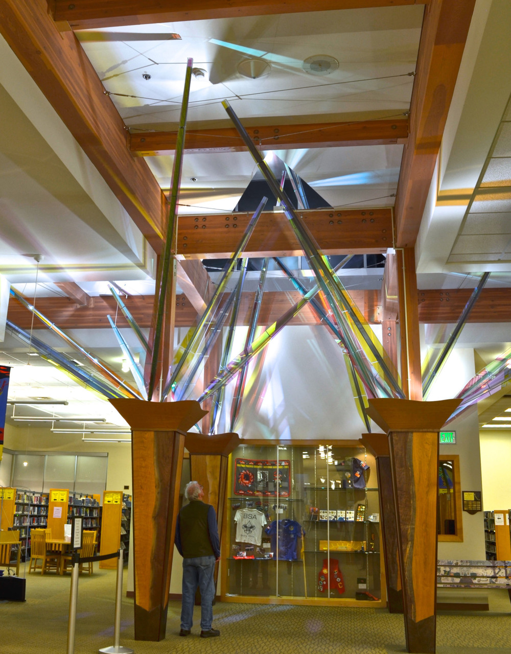 Mollie's Garden, Ed Carpenter's interior library sculpture is a wood, steel, and glass installation in the entry of the Forest Grove, Oregon, library. / image 1