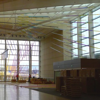 Ed Carpenter's McCarran airport suspended art on the west window wall and adjacent skylight.