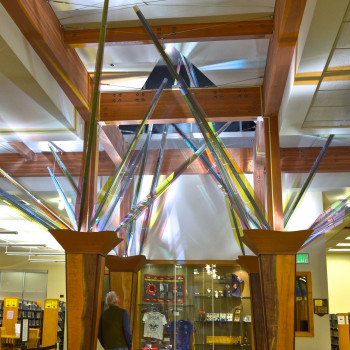 Mollie's Garden, Ed Carpenter's interior library sculpture installed on four columns supporting the library's main skylight, rises toward the light in a gesture suggesting an enormous phototropic botanical specimen---fitting imagery in a building devoted to the light of knowledge.